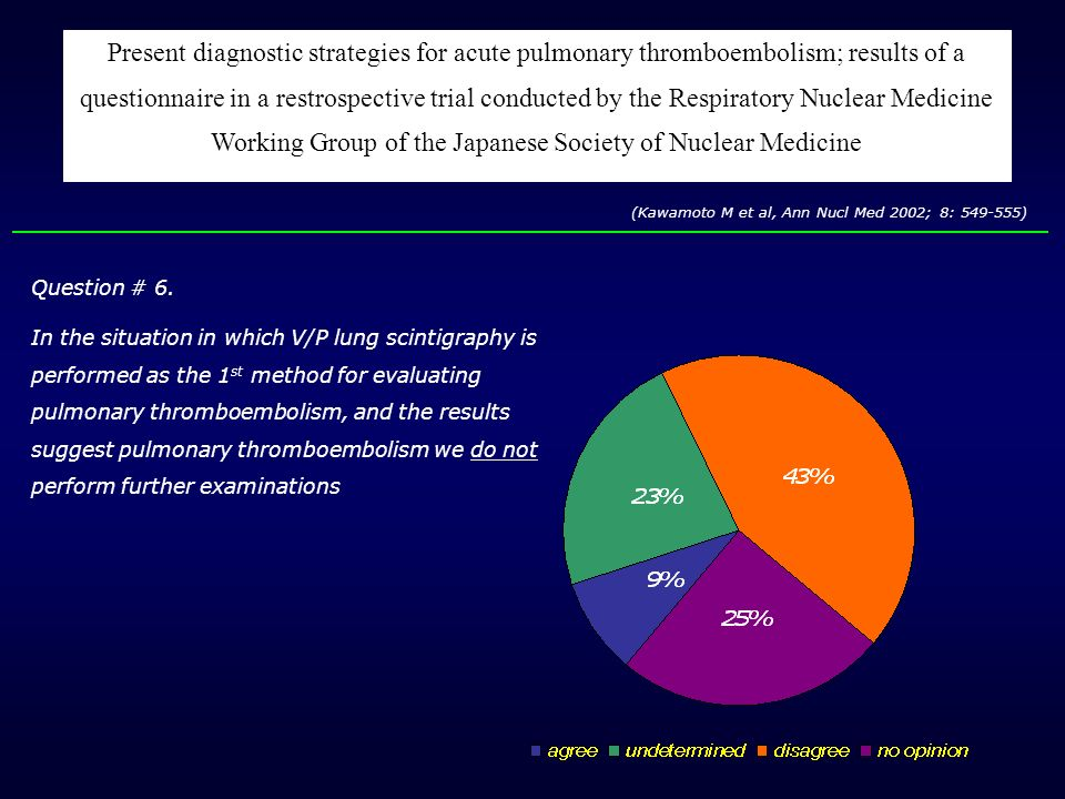 Present diagnostic strategies for acute pulmonary thromboembolism; results of a questionnaire in a restrospective trial conducted by the Respiratory Nuclear Medicine Working Group of the Japanese Society of Nuclear Medicine