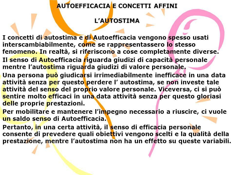 AUTOEFFICACIA E CONCETTI AFFINI