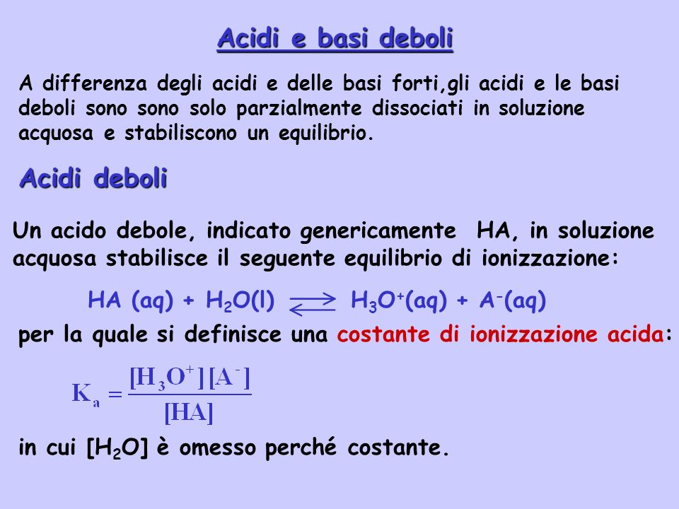 HA (aq) + H2O(l) H3O+(aq) + A-(aq)