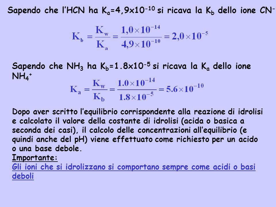Sapendo che l'HCN ha Ka=4,9x10-10 si ricava la Kb dello ione CN-
