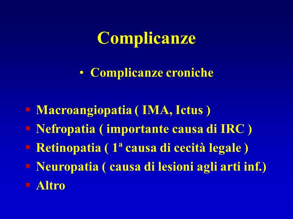 Complicanze Complicanze croniche Macroangiopatia ( IMA, Ictus )
