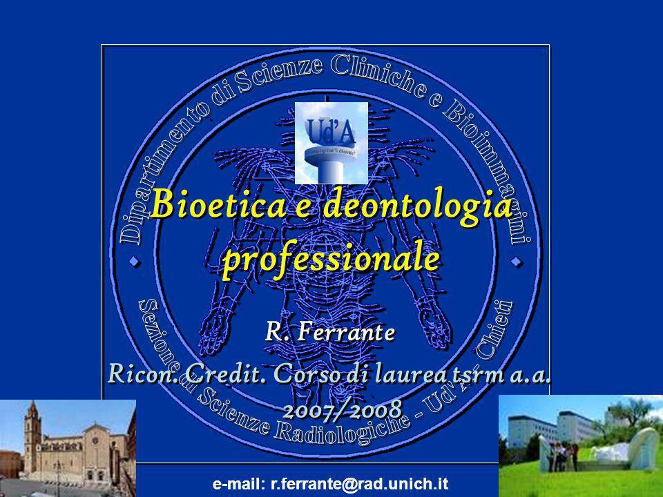 Bioetica e deontologia professionale