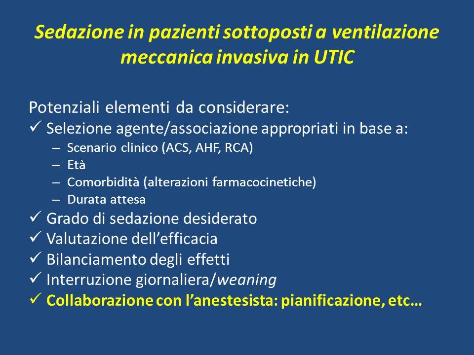 Sedazione in pazienti sottoposti a ventilazione meccanica invasiva in UTIC