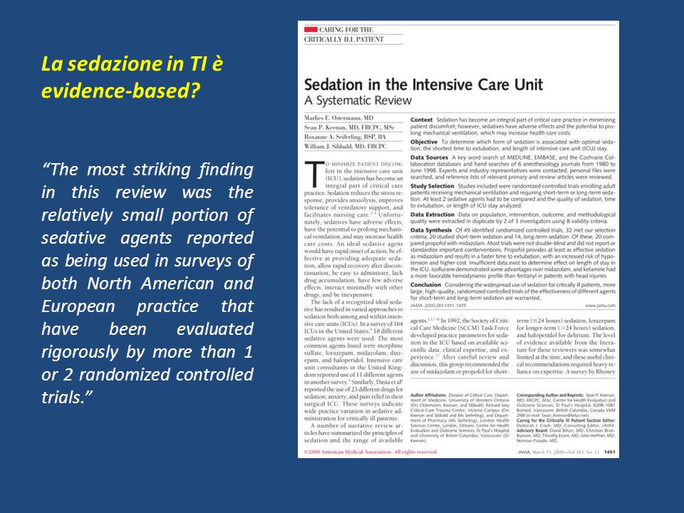 La sedazione in TI è evidence-based