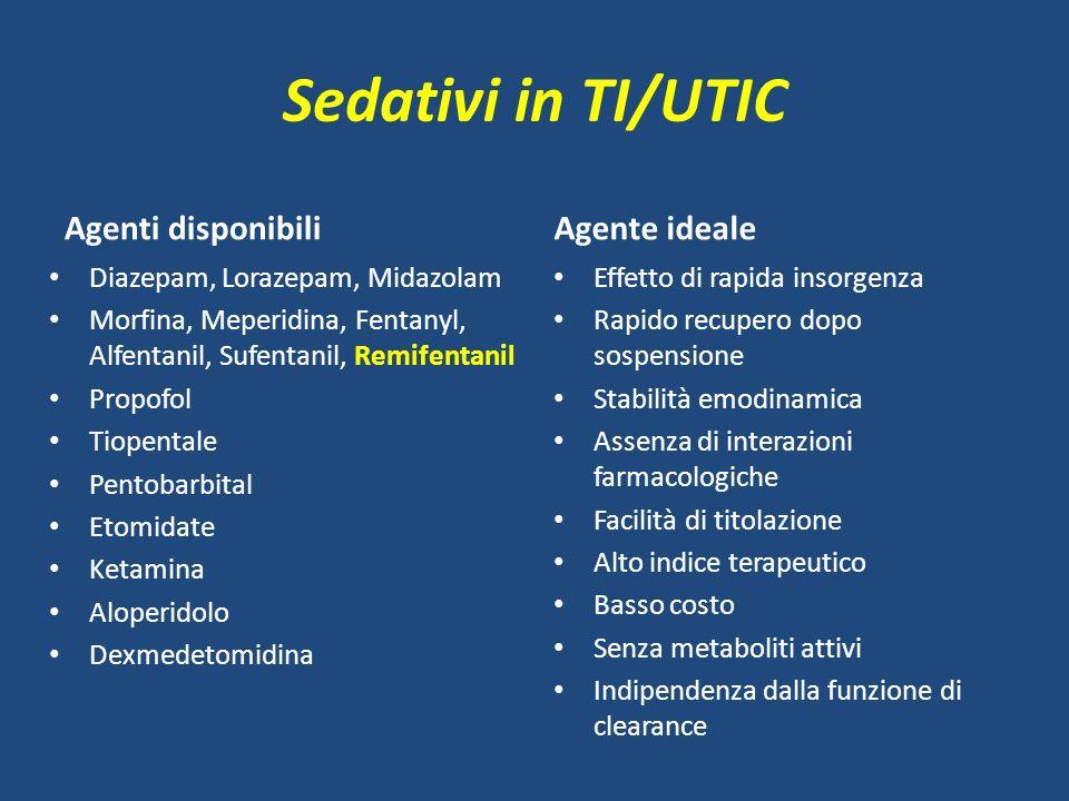 Sedativi in TI/UTIC Agenti disponibili Agente ideale