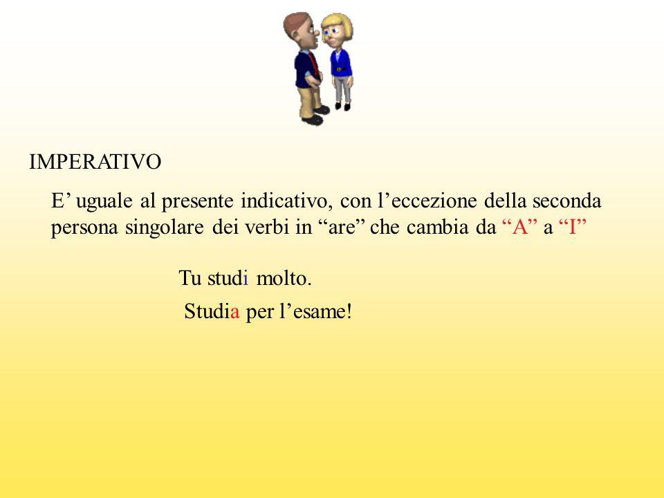 IMPERATIVO E' uguale al presente indicativo, con l'eccezione della seconda persona singolare dei verbi in are che cambia da A a I