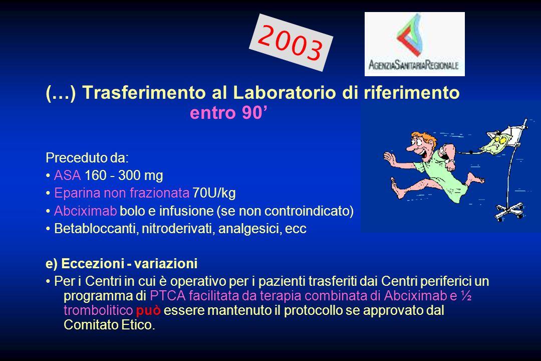 2003 (…) Trasferimento al Laboratorio di riferimento entro 90'