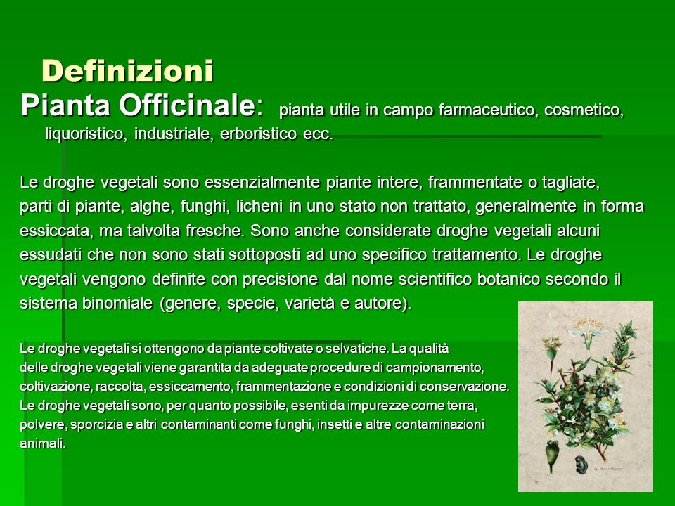 DefinizioniPianta Officinale: pianta utile in campo farmaceutico, cosmetico, liquoristico, industriale, erboristico ecc.