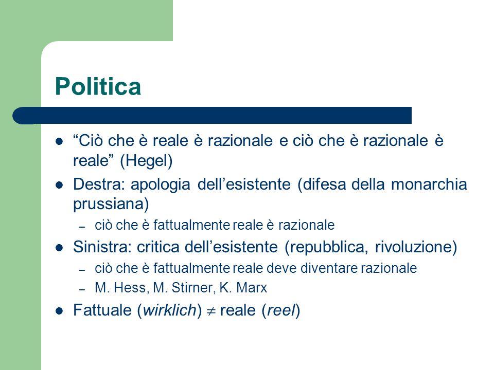 Politica Ciò che è reale è razionale e ciò che è razionale è reale (Hegel) Destra: apologia dell'esistente (difesa della monarchia prussiana)