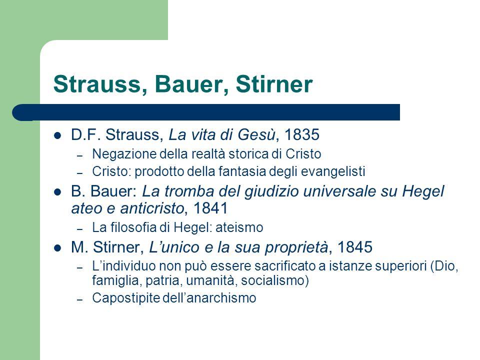 Strauss, Bauer, Stirner D.F. Strauss, La vita di Gesù, 1835