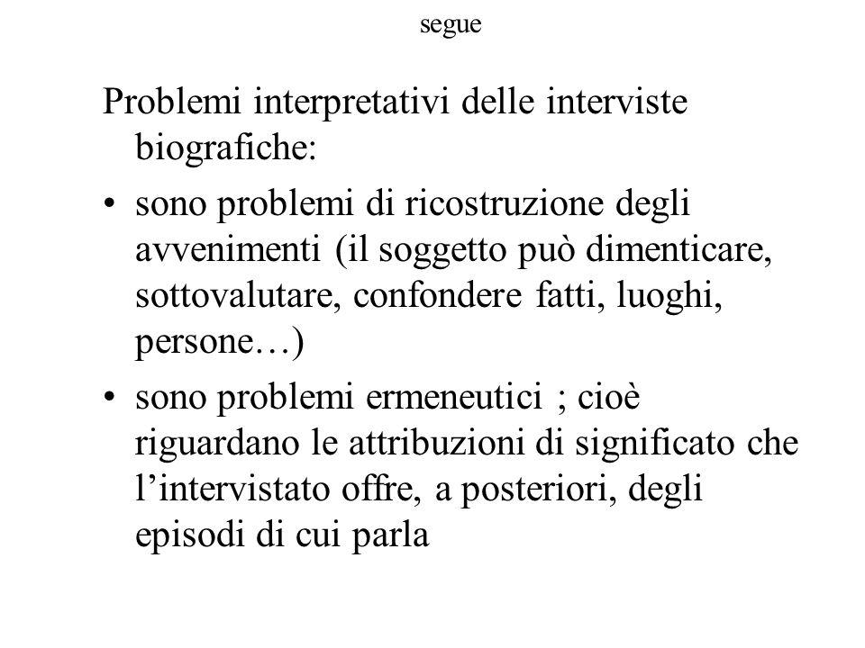 Problemi interpretativi delle interviste biografiche: