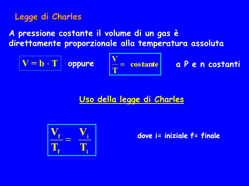 Legge di Charles A pressione costante il volume di un gas è direttamente proporzionale alla temperatura assoluta.