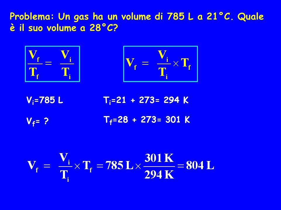 Problema: Un gas ha un volume di 785 L a 21°C