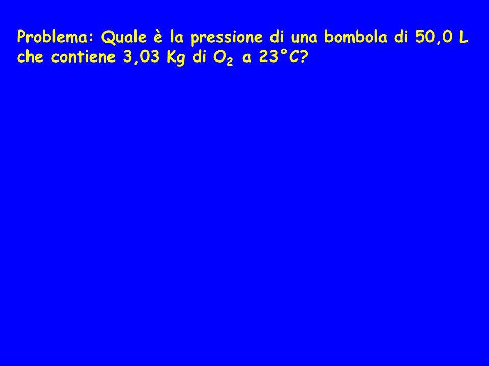 Problema: Quale è la pressione di una bombola di 50,0 L che contiene 3,03 Kg di O2 a 23°C