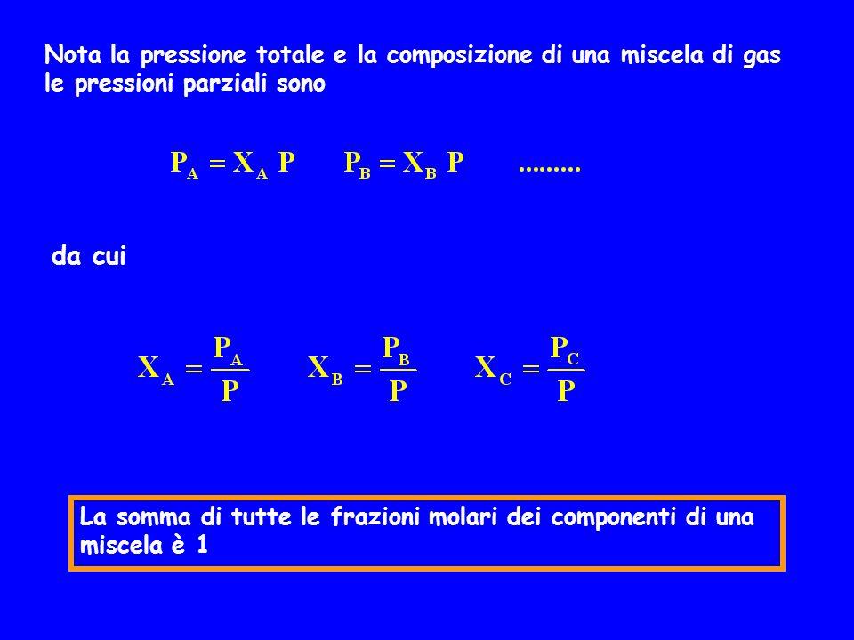 Nota la pressione totale e la composizione di una miscela di gas le pressioni parziali sono