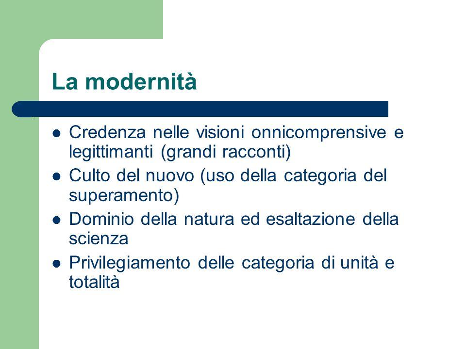 La modernità Credenza nelle visioni onnicomprensive e legittimanti (grandi racconti) Culto del nuovo (uso della categoria del superamento)