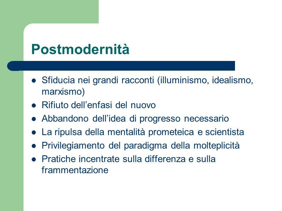 Postmodernità Sfiducia nei grandi racconti (illuminismo, idealismo, marxismo) Rifiuto dell'enfasi del nuovo.