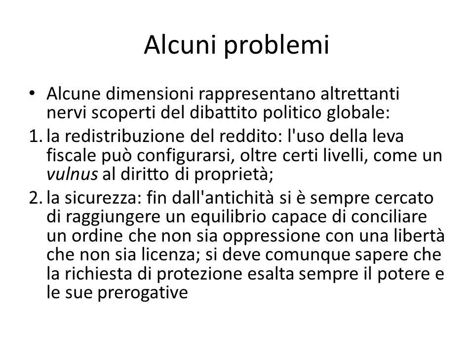 Alcuni problemi Alcune dimensioni rappresentano altrettanti nervi scoperti del dibattito politico globale: