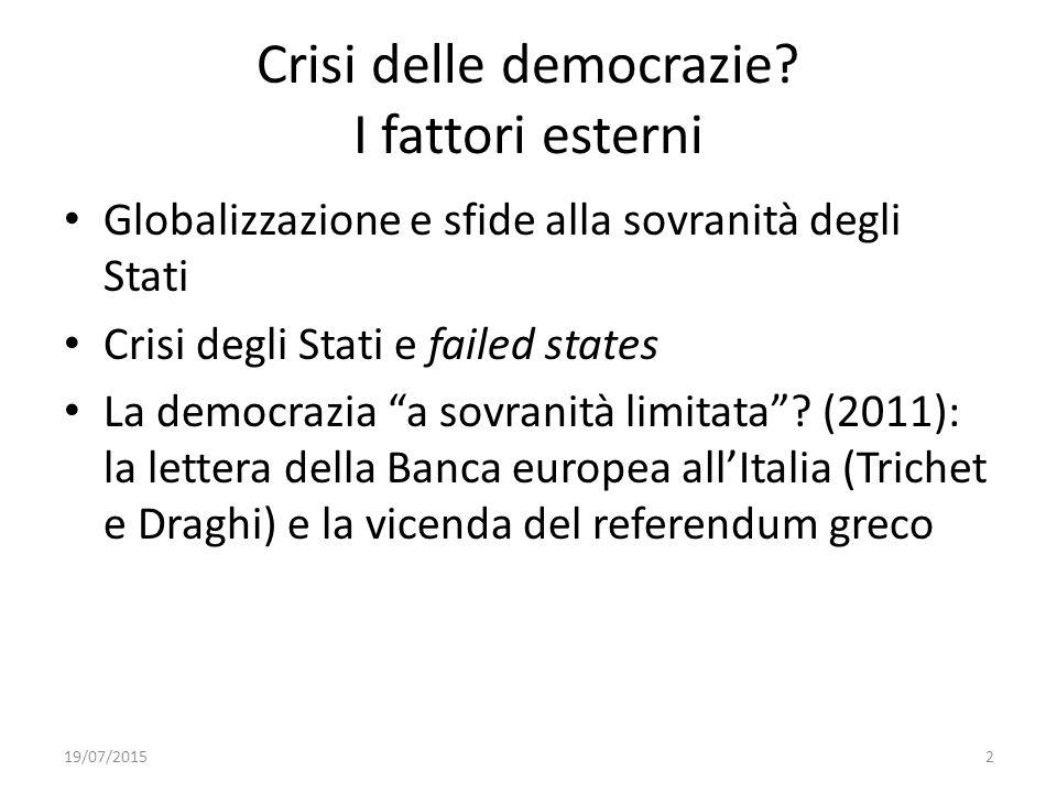 Crisi delle democrazie I fattori esterni