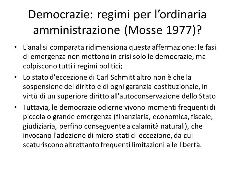Democrazie: regimi per l'ordinaria amministrazione (Mosse 1977)