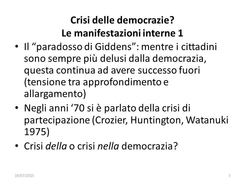 Crisi delle democrazie Le manifestazioni interne 1