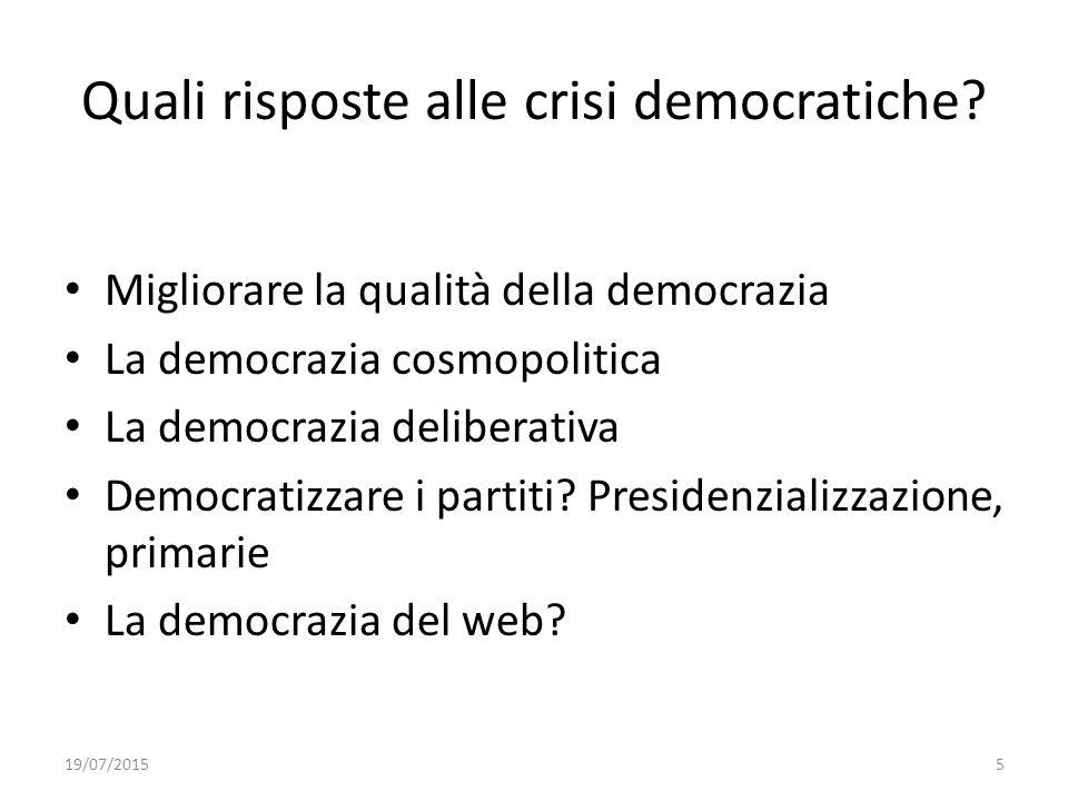 Quali risposte alle crisi democratiche
