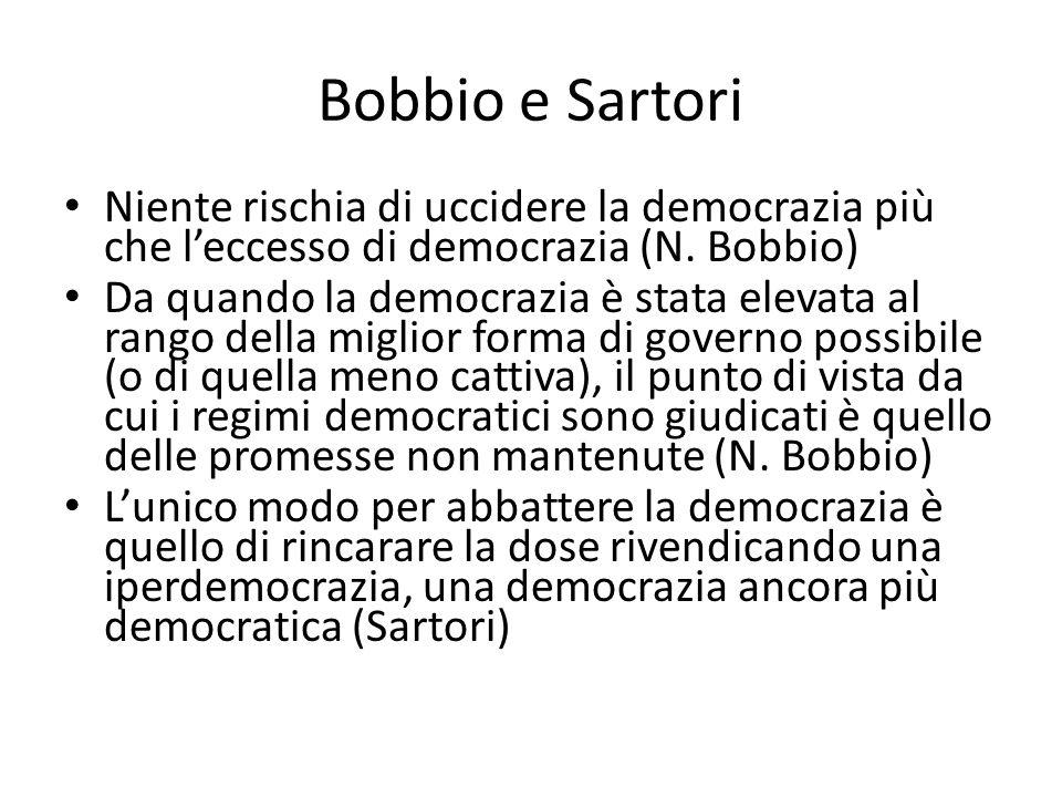 Bobbio e Sartori Niente rischia di uccidere la democrazia più che l'eccesso di democrazia (N. Bobbio)