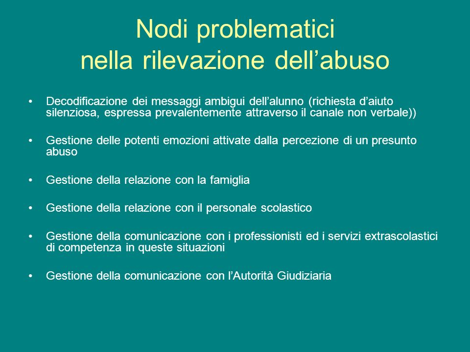 Nodi problematici nella rilevazione dell'abuso