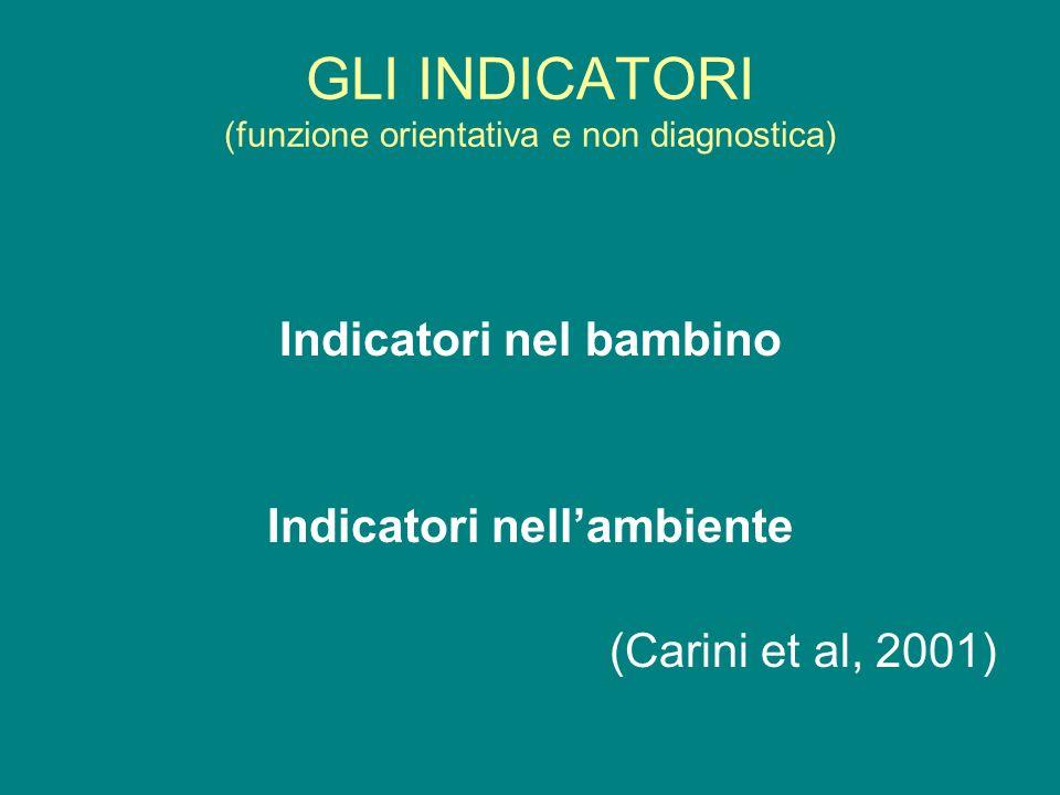 GLI INDICATORI (funzione orientativa e non diagnostica)