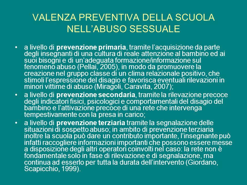 VALENZA PREVENTIVA DELLA SCUOLA NELL'ABUSO SESSUALE