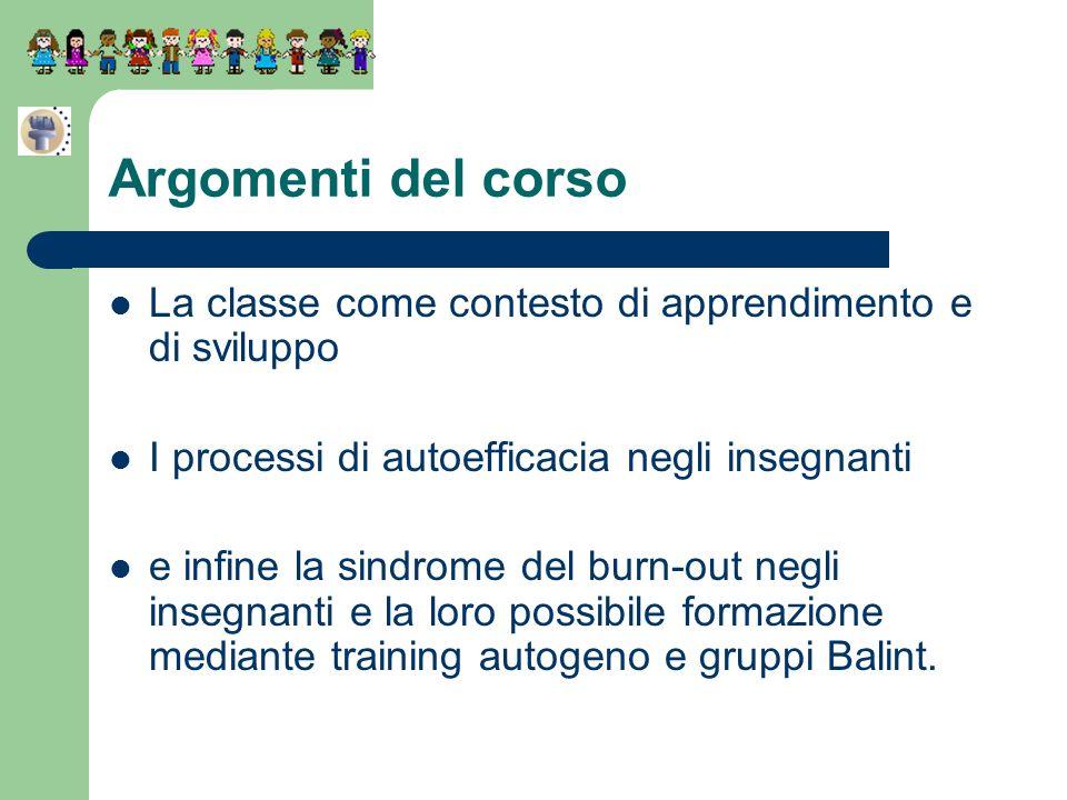 Argomenti del corsoLa classe come contesto di apprendimento e di sviluppo. I processi di autoefficacia negli insegnanti.