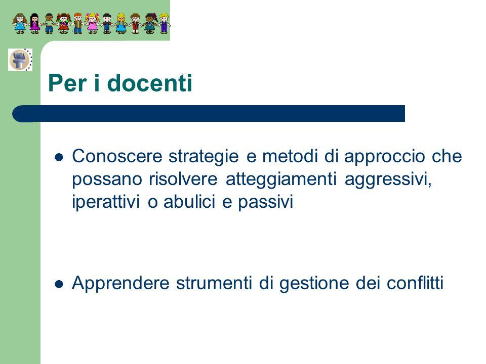 Per i docenti Conoscere strategie e metodi di approccio che possano risolvere atteggiamenti aggressivi, iperattivi o abulici e passivi.