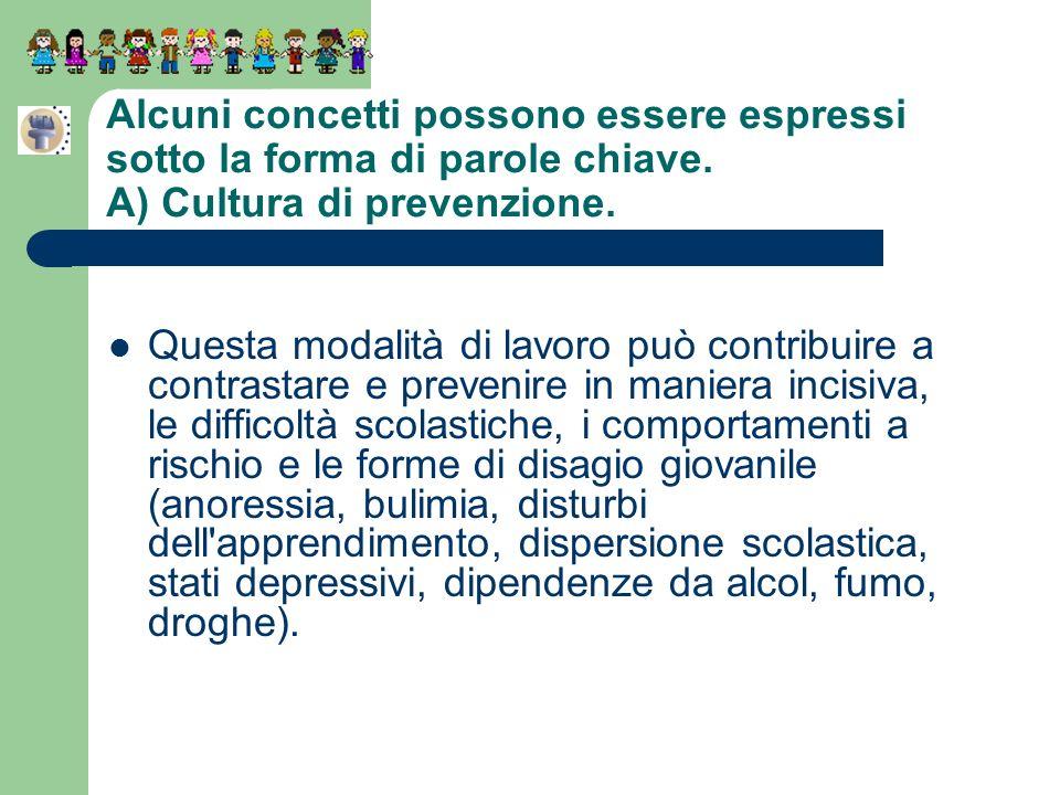 Alcuni concetti possono essere espressi sotto la forma di parole chiave. A) Cultura di prevenzione.