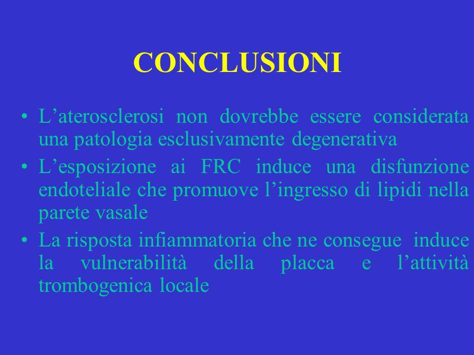 CONCLUSIONI L'aterosclerosi non dovrebbe essere considerata una patologia esclusivamente degenerativa.