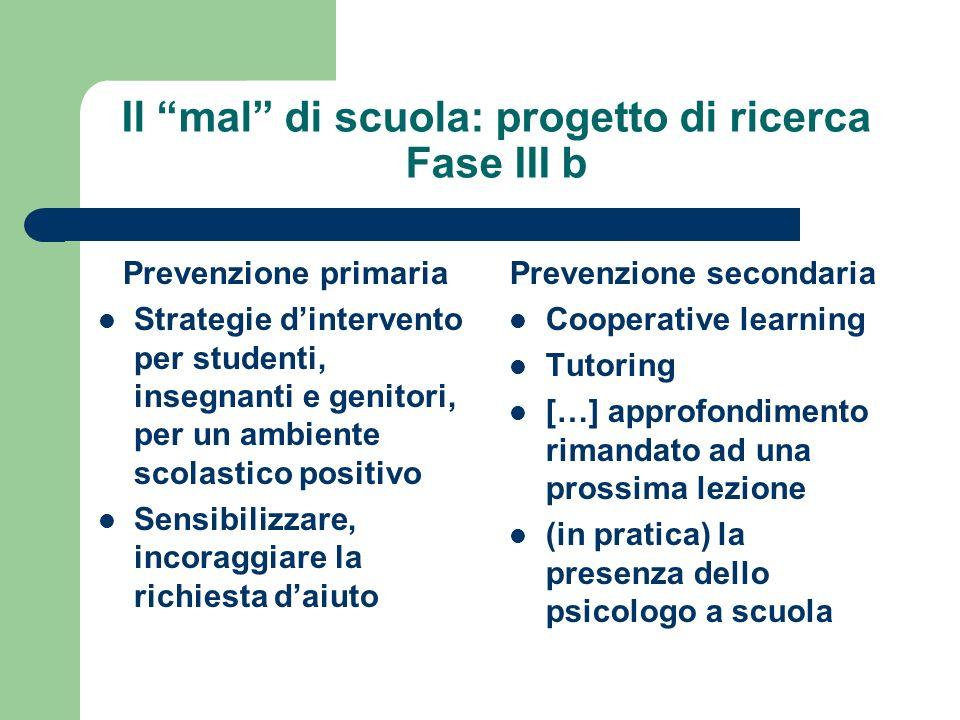 Il mal di scuola: progetto di ricerca Fase III b