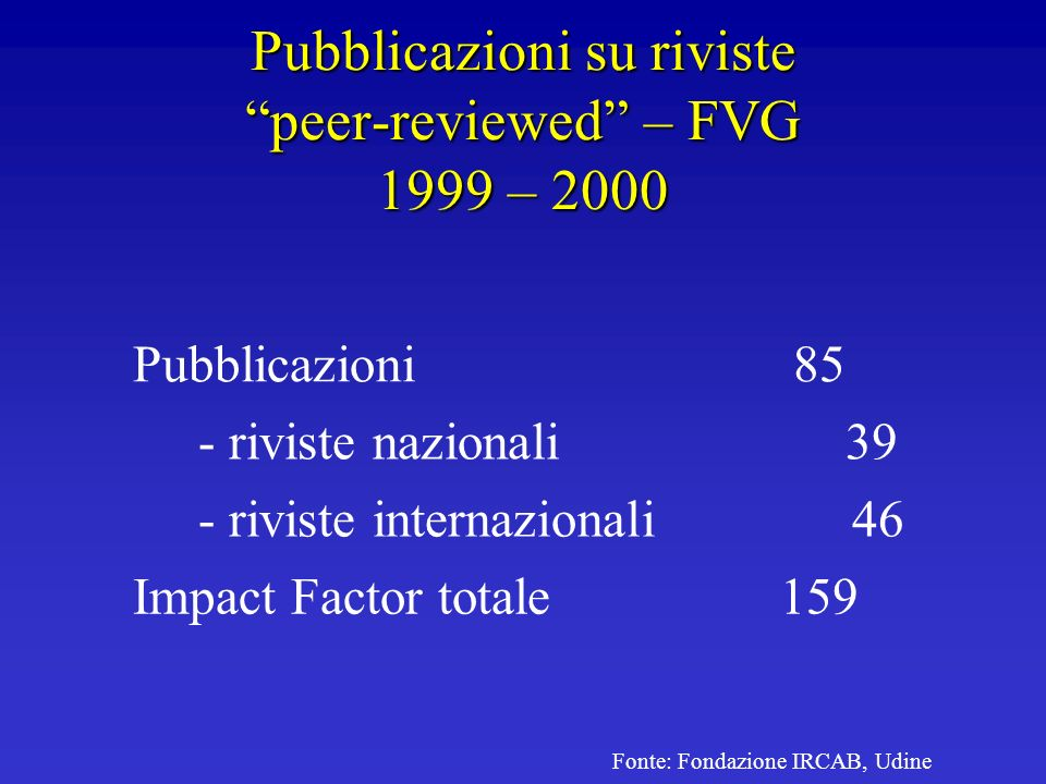 Pubblicazioni su riviste peer-reviewed – FVG 1999 – 2000