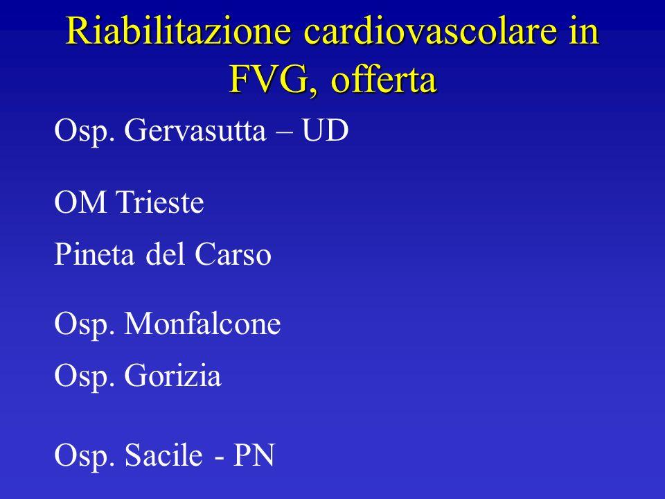 Riabilitazione cardiovascolare in FVG, offerta