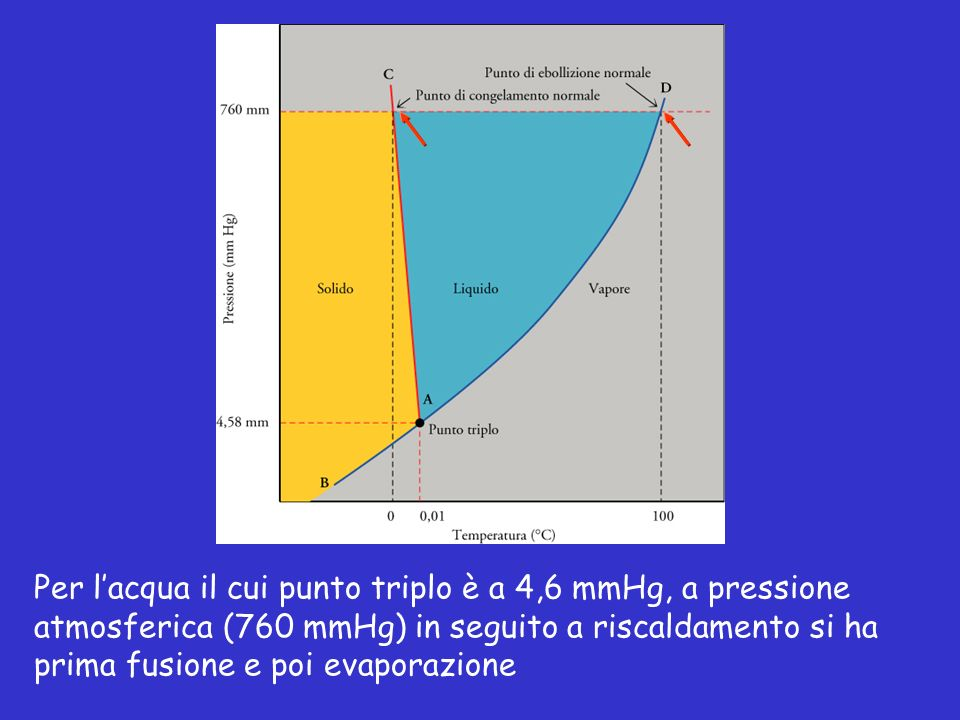 Per l'acqua il cui punto triplo è a 4,6 mmHg, a pressione atmosferica (760 mmHg) in seguito a riscaldamento si ha prima fusione e poi evaporazione