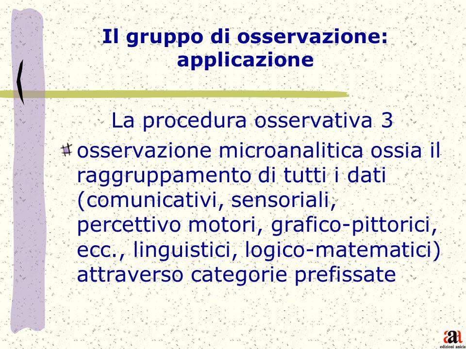 Il gruppo di osservazione: applicazione
