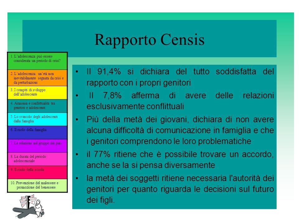 Rapporto Censis 1. L'adolescenza può essere considerata un periodo di crisi