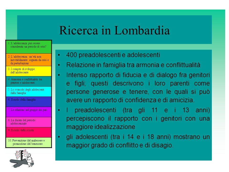 Ricerca in Lombardia 400 preadolescenti e adolescenti