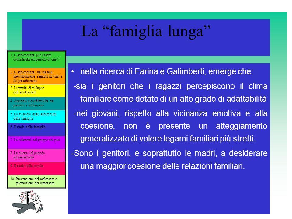La famiglia lunga nella ricerca di Farina e Galimberti, emerge che: