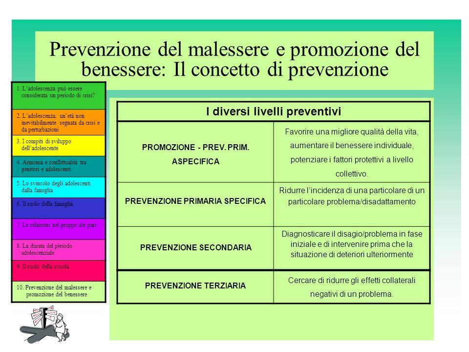 Prevenzione del malessere e promozione del benessere: Il concetto di prevenzione