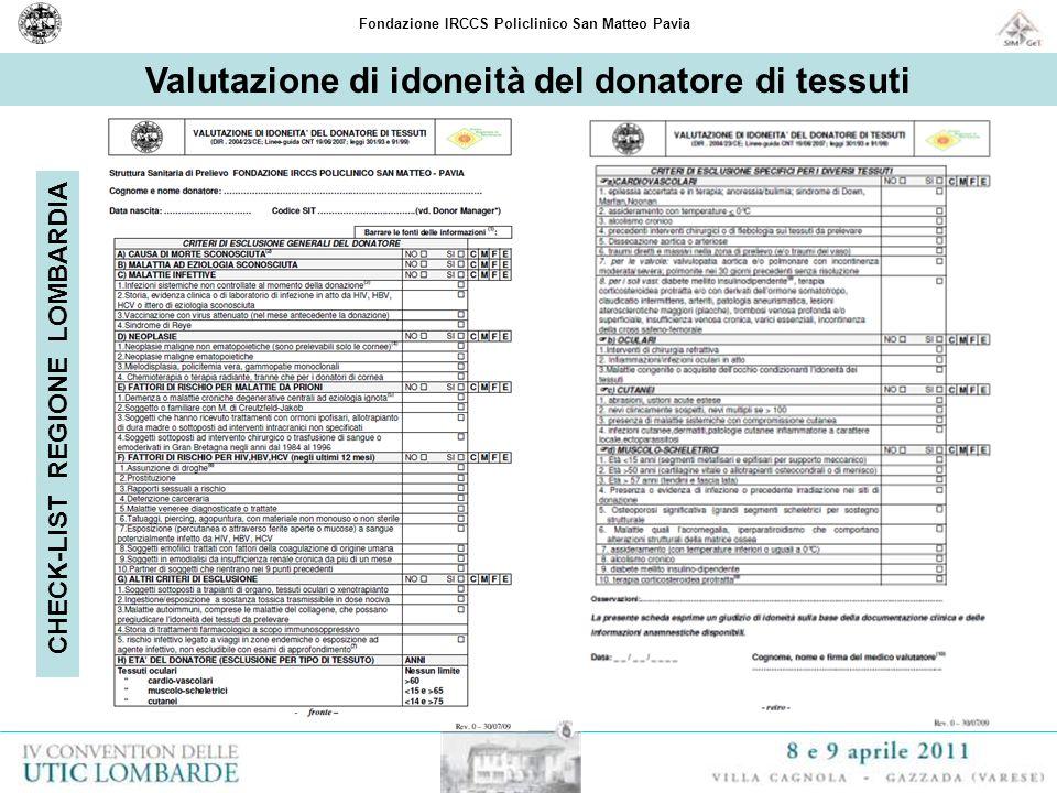 Valutazione di idoneità del donatore di tessuti