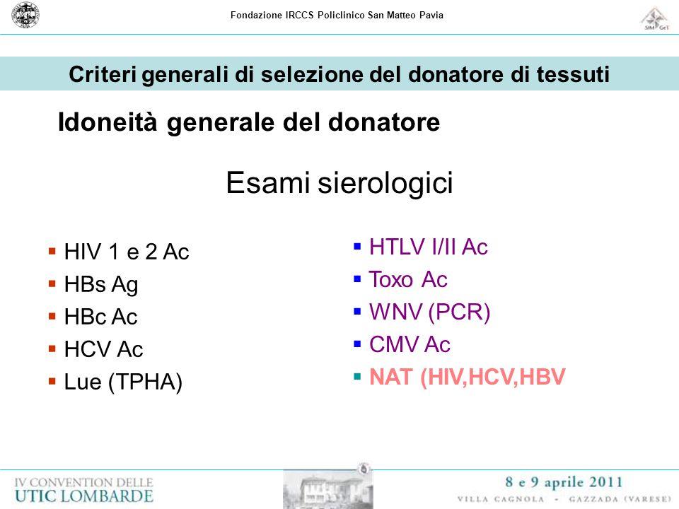 Esami sierologici Idoneità generale del donatore