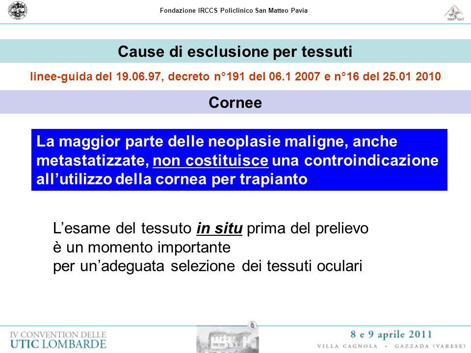 Cause di esclusione per tessuti Cornee
