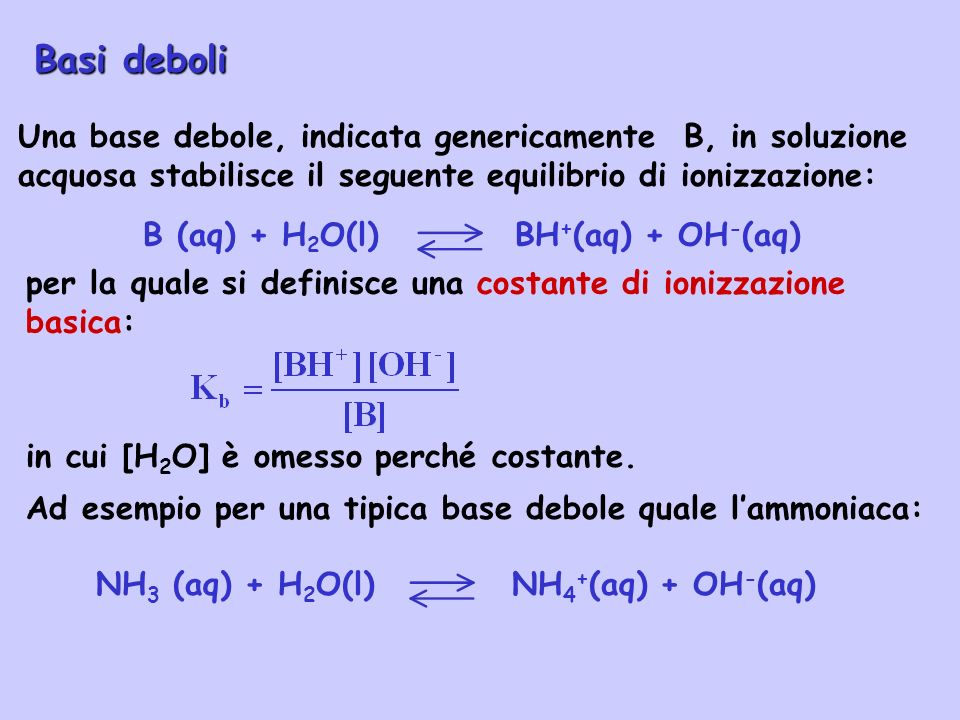 B (aq) + H2O(l) BH+(aq) + OH-(aq)