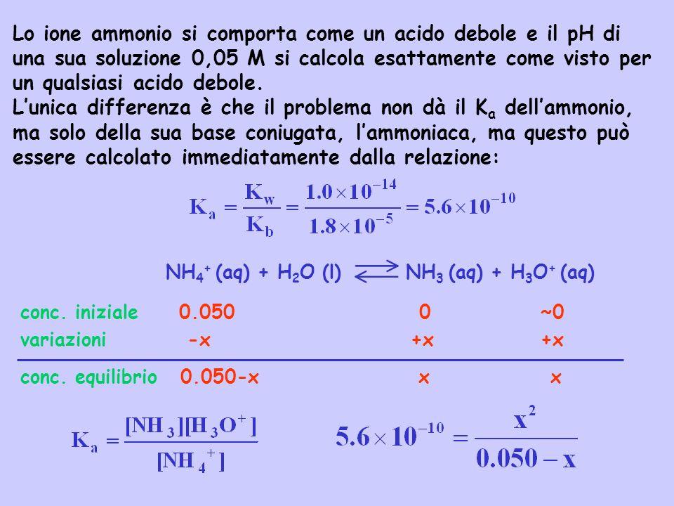 Lo ione ammonio si comporta come un acido debole e il pH di una sua soluzione 0,05 M si calcola esattamente come visto per un qualsiasi acido debole.
