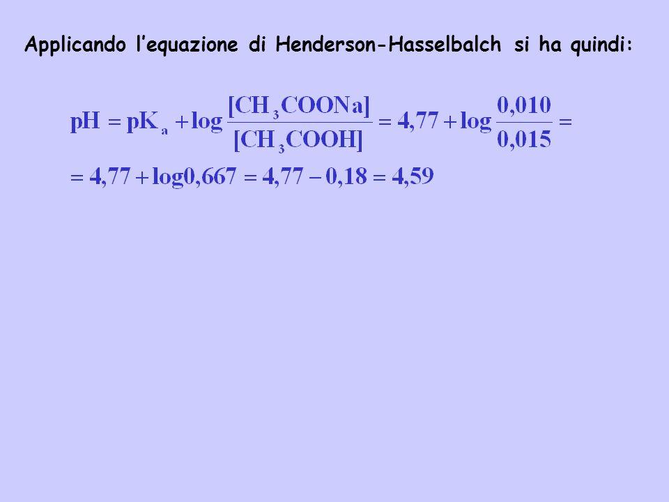 Applicando l'equazione di Henderson-Hasselbalch si ha quindi: