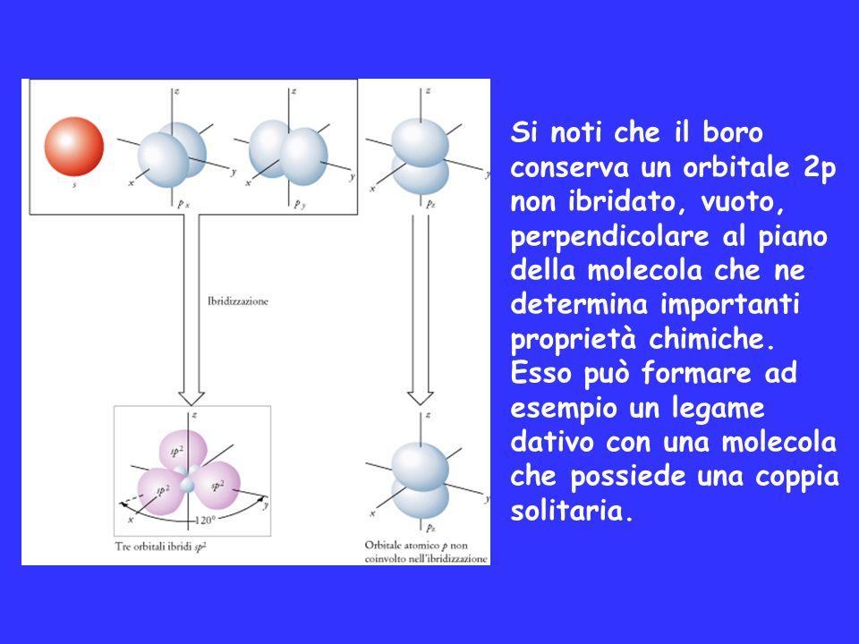 Si noti che il boro conserva un orbitale 2p non ibridato, vuoto, perpendicolare al piano della molecola che ne determina importanti proprietà chimiche.